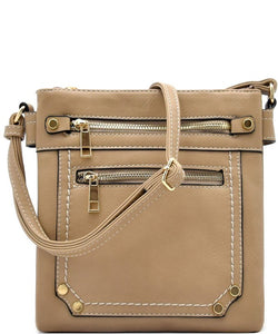 Multi zip cross body