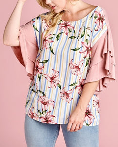 Stripe and Floral Blouse with Flutter Sleeves - Curvy Girl