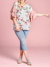Load image into Gallery viewer, Stripe and Floral Blouse with Flutter Sleeves - Curvy Girl