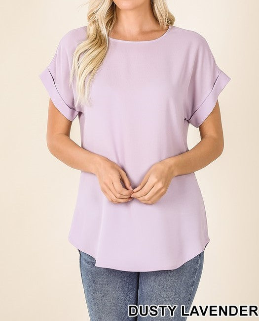 Dobby rolled sleeve top