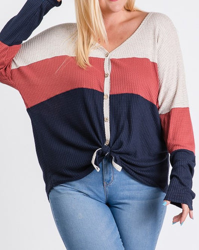 Color block front tie top - Curvy Girl