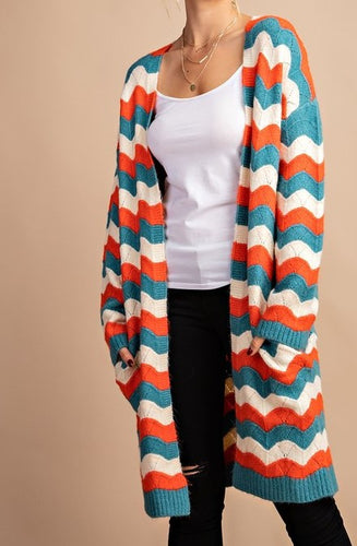 Wavy striped sweater cardigan