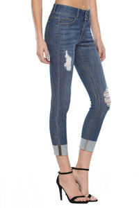 CELLO Mid Rise 2 Button Roll Cuff Destroy Crop Skinny