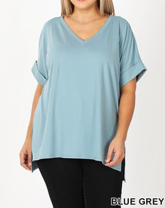 Butter soft rolled short sleeve top - Curvy Girl
