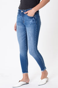 Kan Can Mid Rise Hem Detail Ankle Skinny