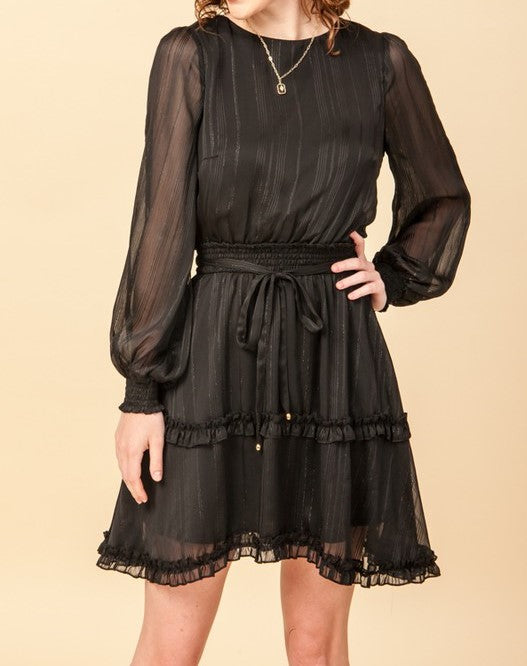 Smocked waist long sleeve dress
