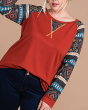 Load image into Gallery viewer, Aztec long sleeve top - Curvy Girl