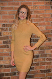Fitted ribbed knit sweater dress