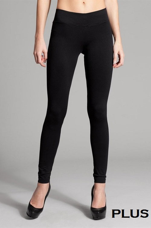 Solid Ankle Leggings w/ 5 inches waistband - Curvy Girl