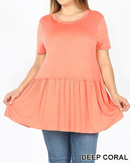 Ruffle bottom short sleeve top - Curvy Girl