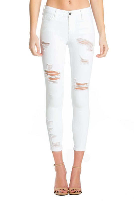 CELLO White Distressed Ankle Cropped Skinny