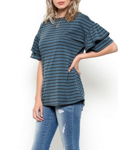 Ruffle layer sleeve top
