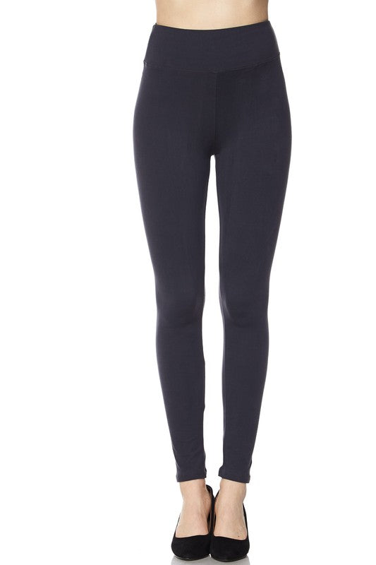 Solid Brushed Ankle Leggings with 3 inch waistband