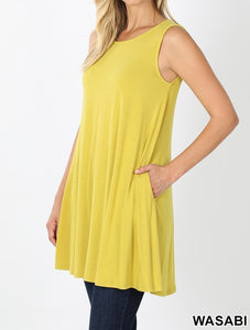 Sleeveless straight hem tunic
