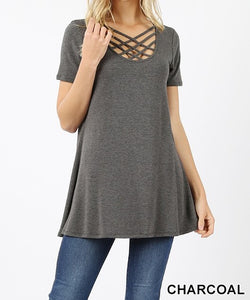 Short sleeve triple lattice top - Available in multiple colors