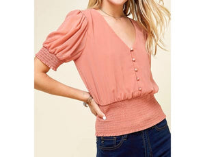 Short puff sleeve v-neck top