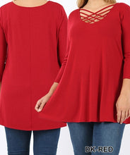 Load image into Gallery viewer, Triple lattice 3/4 sleeve top - Curvy Girl - Available in Multiple colors