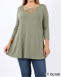 Triple lattice 3/4 sleeve top - Curvy Girl - Available in Multiple colors