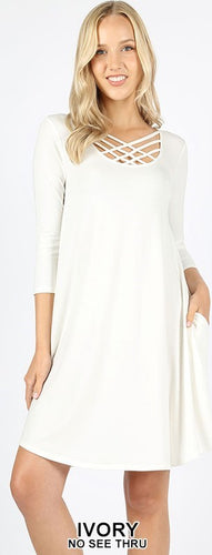 3/4 sleeve triple lattice dress - Curvy Girl