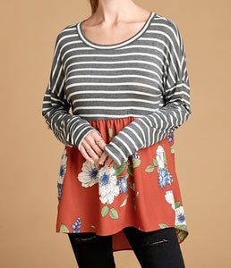 Back Tie Stripe and Floral Top
