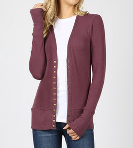 Snap button cardigan - Available in multiple colors