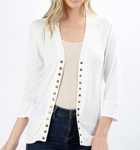 3/4 sleeve sweater cardigan - Curvy Girl