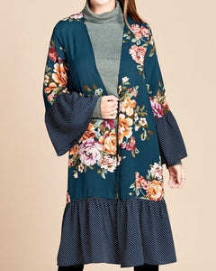 Open-Front Midi Cardigan with Bell Sleeves