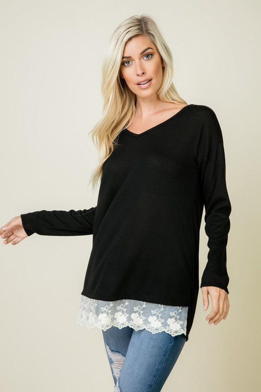 Lace bottom detail top