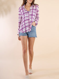 Plaid long sleeve button up