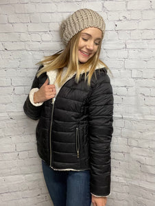 Reversible Faux Sherpa Fleece Puffer Hooded Jacket