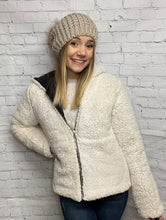 Load image into Gallery viewer, Reversible Faux Sherpa Fleece Puffer Hooded Jacket