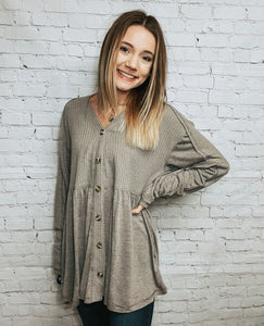 Missy button down knit top