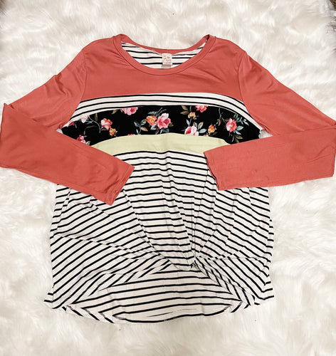 Stripe and floral color block top - Curvy Girl