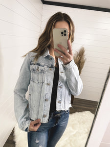 Kan Can Fray Hem Denim Jacket