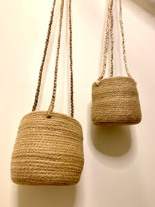 Hanging woven jute planters