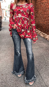 Mid-rise long fray flare jeans