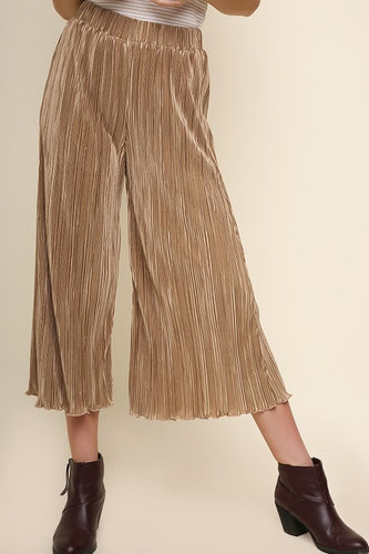 Wide leg elastic pants
