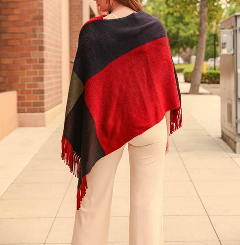 Red color block tassel poncho