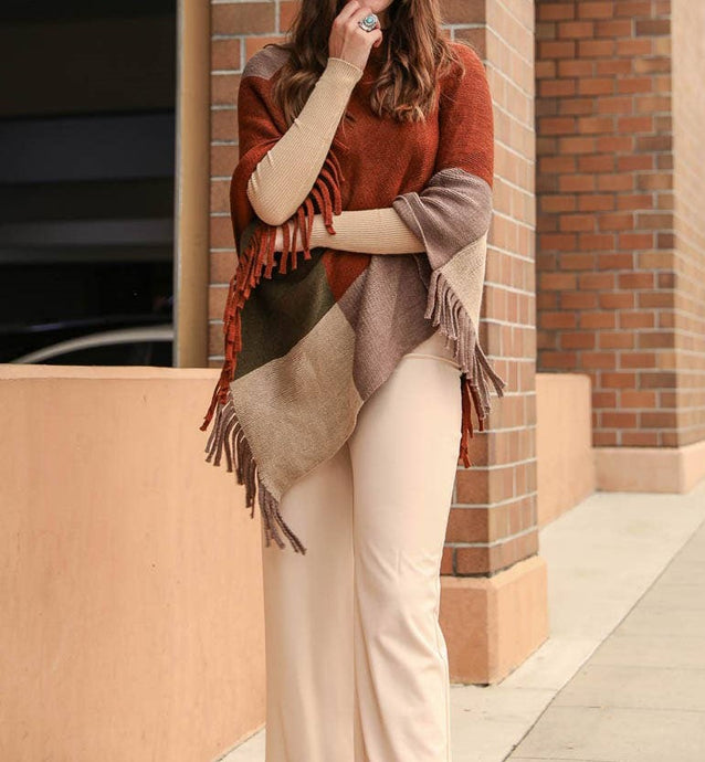 Rust Color block tassel poncho
