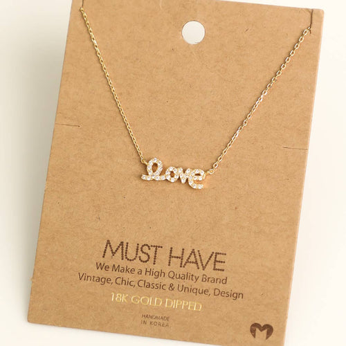 Love Print Charm Necklace