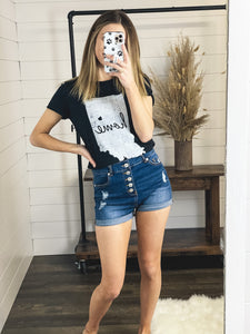 Button Fly Denim Shorts