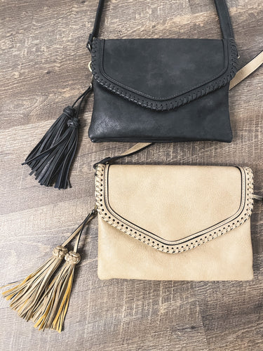 Flapover Crossbody w/ Whipstitch and Tassel