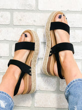 Load image into Gallery viewer, Black Strap Platform Sandal