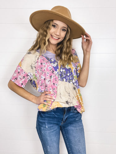 V-neck Patchwork Top