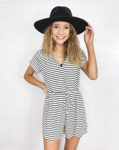 Striped Short Sleeve Romper