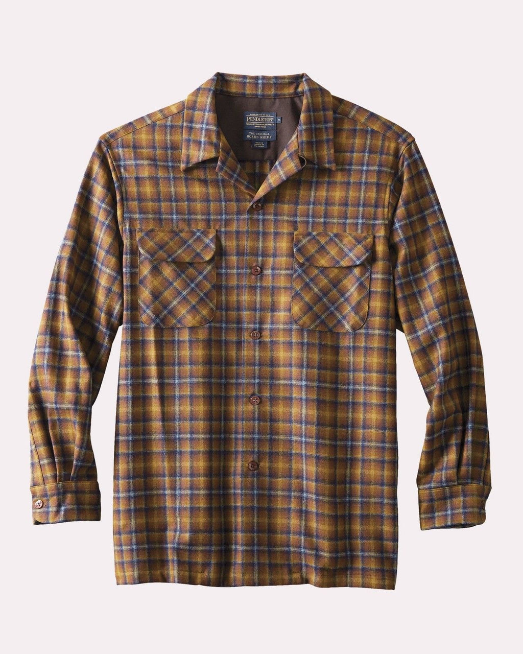 Fitted Board Shirt, Brown Blue Plaid