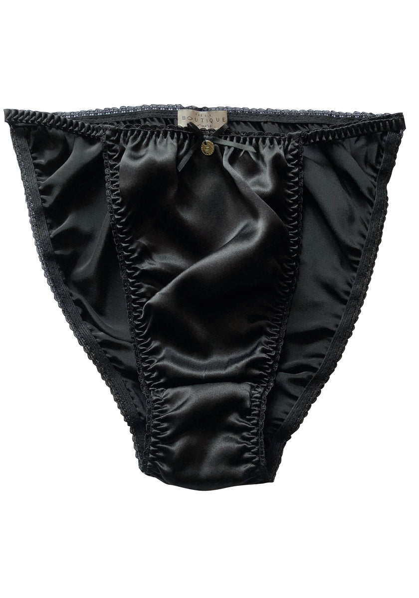 black silk tanga knickers