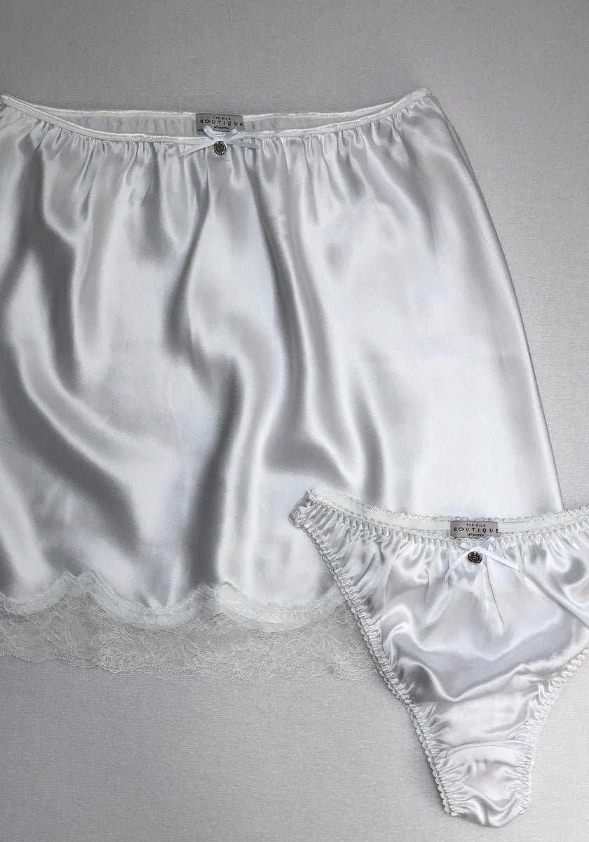 white silk thong knickers with silk half slip