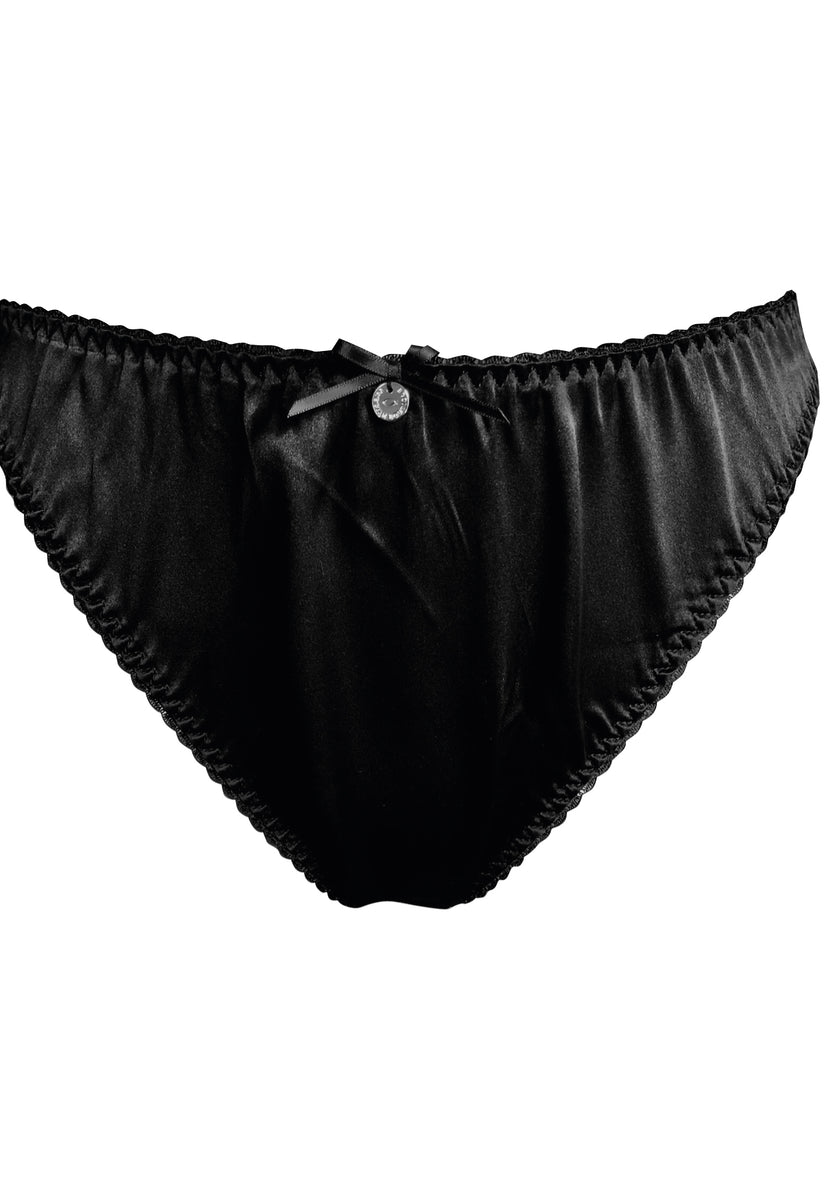 black brazilian knickers in silk satin