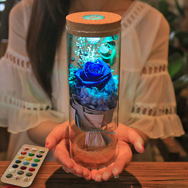 Bloom- LED Rose Bottle Lamp